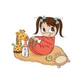 Weinig spel van het babymeisje met haar stuk speelgoed royalty-vrije illustratie