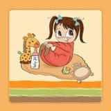 Weinig spel van het babymeisje met haar stuk speelgoed Stock Foto's