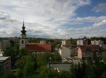Weinig stad in West-Slowakije, Myjava royalty-vrije stock afbeelding