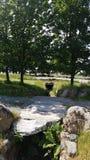 Weinig Stonebridge met aardige bomen op de achtergrond royalty-vrije stock afbeelding