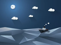 Weinig stoomboot op volle zee Nachtoceaan Royalty-vrije Stock Afbeeldingen