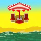 Weinig strandlandschap - 3d voxelart. Stock Foto
