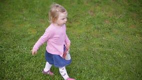 Weinig twee-jaar-oud mooi blondemeisje die groen gras, langzame geanimeerde video doornemen stock video