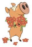 Weinig varken en bloemenbeeldverhaal Royalty-vrije Stock Afbeelding