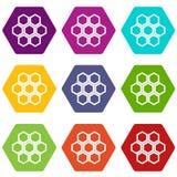 Weinig vastgestelde kleur van het honingraatpictogram hexahedron Royalty-vrije Stock Foto's