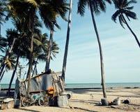 Weinig Vietnamees huis op zeekust onder palmen en zand royalty-vrije stock foto