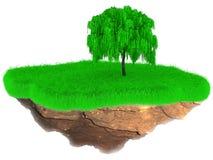 Weinig vliegend graseiland met een boom Stock Afbeelding