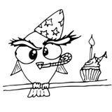 Weinig vogel met cackes en woorden Gelukkige Verjaardag De vectorbeeldverhaalillustratie kan voor babyt-shirt, drukontwerp, babys stock illustratie