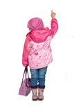 Weinig vrolijk meisje toont Royalty-vrije Stock Foto