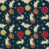 Weinig vrolijke varkensspelen met Kerstboomdecoratie, Kerstmisillustratie royalty-vrije stock afbeeldingen
