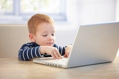 Weinig zakenman die laptop thuis met behulp van Royalty-vrije Stock Foto's