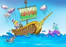 Weinig zeeman op de boot Royalty-vrije Stock Afbeeldingen