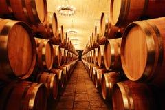 Weinkeller mit Fässern Lizenzfreie Stockfotos