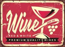 Weinkeller-Weinlesezinnzeichen lizenzfreie abbildung