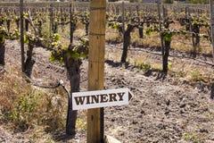 Weinkellerei kennzeichnen innen Weinberg Stockfotos