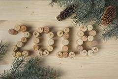 Weinkorken und Kiefernniederlassungen Stockbilder