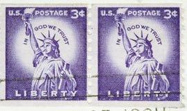 Weinlese 1954 US-Briefmarke-Freiheit-Ring Lizenzfreie Stockfotos