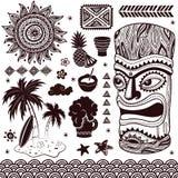 Weinlese-Aloha Tiki-Illustration lizenzfreie abbildung