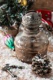 Weinlese-altmodische Weihnachtskarte Stockfotos
