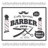 Weinlese, angeredetes Barber Shop-Logo Stockfotos