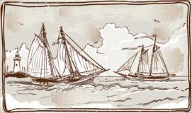 Weinlese-Ansicht von Segelschiffen auf dem Meer Stockfotos