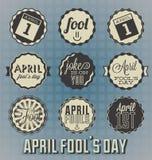 Weinlese April Fools Day Labels Lizenzfreie Stockfotos