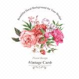 Weinlese-Aquarell-Gruß-Karte mit blühenden Blumen Rosen, Wildflowers und Pfingstrosen Lizenzfreie Stockfotografie
