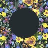 Weinlese-Aquarell-runder mit Blumenrahmen mit Wildflowers stock abbildung