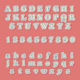 Weinlese-Art-Alphabete und Zahlen eingestellt Stockfotografie