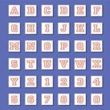 Weinlese-Art-Alphabete und Zahlen eingestellt Stockfotos
