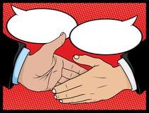 Weinlese-Art-Comic-Buch-Händedruck mit Sprache-Blasen Stockbilder