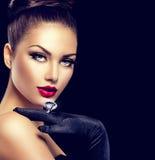 Weinlese-Art-Modell Wearing Gloves Stockfotos