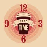 Weinlese-Artplakat der Kaffee-Zeit typografisches Retro- vektorabbildung Lizenzfreie Stockbilder