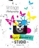 Weinlese-Aufkleber, Fotografiestudio Art Einkaufsumbauten und -ikonen Stockbild