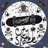 Weinlese-Aufkleber, Skateboardart Typografievektor Elemente Stockfotos
