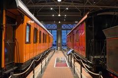 Weinlese-Autolokomotiven der Weinlese Retro- von Zeiten der UDSSR Russland, St Petersburg Museums-Eisenbahnen von Russland am 21. Lizenzfreies Stockfoto