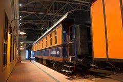 Weinlese-Autolokomotiven der Weinlese Retro- von Zeiten der UDSSR Russland, St Petersburg Museums-Eisenbahnen von Russland am 21. Lizenzfreie Stockbilder
