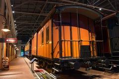 Weinlese-Autolokomotiven der Weinlese Retro- von Zeiten der UDSSR Russland, St Petersburg Museums-Eisenbahnen von Russland am 21. Lizenzfreie Stockfotos