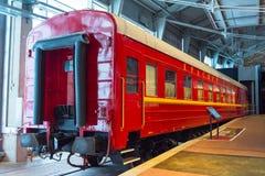Weinlese-Autolokomotiven der Weinlese Retro- von Zeiten der UDSSR Russland, St Petersburg Museums-Eisenbahnen von Russland am 21. Stockbild