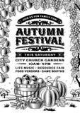 Weinlese-Autumn Festival Poster Black And-Weiß lizenzfreie abbildung