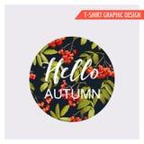 Weinlese Autumn Floral Graphic Design - für Karte, T-Shirt, Mode vektor abbildung