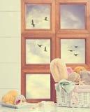 Weinlese-Badezimmer-Fenster stockfoto