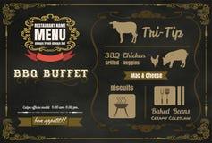 Weinlese BBQ-Parteimenü-Plakatdesign mit Fleisch, Rindfleisch Huhn, Stockfoto
