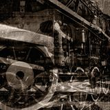 Weinlese bearbeitet Hintergrund maschinell Stockfoto