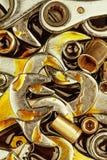 Weinlese bearbeitet Schlüssel und Nüsse mit Fettflecken Stockfotos