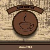 Weinlese-bester ep Kaffee hölzernen Retro- Kaffee Stampe-Designs Lizenzfreies Stockfoto