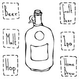 Weinlese-Bierflasche Hand gezeichneter Vektor Illustraition Lizenzfreies Stockfoto