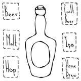 Weinlese-Bierflasche Hand gezeichneter Vektor Illustraition Lizenzfreie Stockfotos