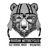 Weinlese-Bild des Bären für T-Shirt Design für Motorrad, Fahrrad, Motorrad, Rollerclub, aero Club stock abbildung
