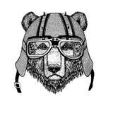 Weinlese-Bild des Bären für T-Shirt Design für Motorrad, Fahrrad, Motorrad, Rollerclub, aero Club lizenzfreie abbildung